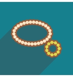 Flat icon with long shadow necklace bracelet vector image