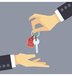 Hand giving house keys real estate buying vector image