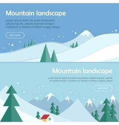 Mountain landscape flat design web banners vector