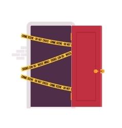 Door and crime scene tape vector image