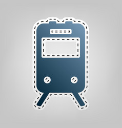 train sign  blue icon with outline for vector image