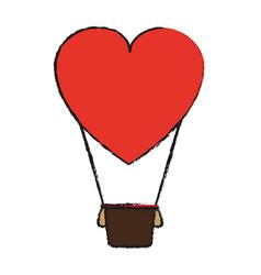 Heart shape hot air balloon love valentines day vector