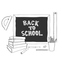 back to school handdrawing black white vector image