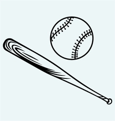 Baseball and baseball bat vector image