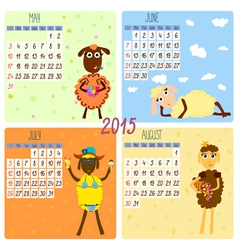 2015 calendar with cartoon and funny sheep summer vector