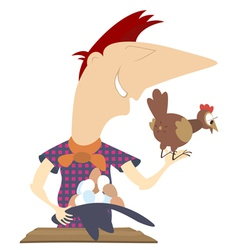 Laying hen and a farmer vector image