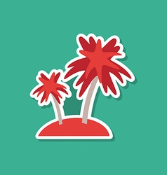 Sea island with palm trees on blue background vector