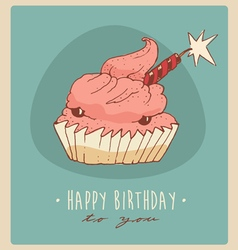 Piece of cake happy birthday card sweet cupcakes vector