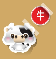 Chinese zodiac sign ox sticker vector