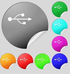Usb icon sign set of eight multi colored round vector
