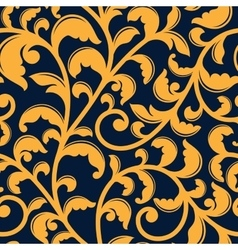 Yellow floral seamless pattern on blue vector