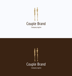 Couple silhouette two people logo vector