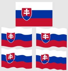 Flat and waving flag of slovakia vector