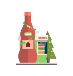 Drinks shop front in christmas vector