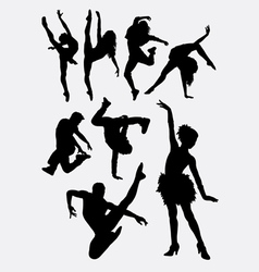 Beautiful dancer performing silhouette vector image