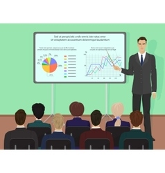Businessman expert giving presentation seminar vector