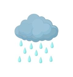Cloud with rain drops icon cartoon style vector