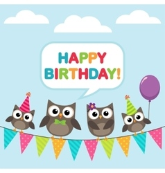 Happy birthday card with owls vector