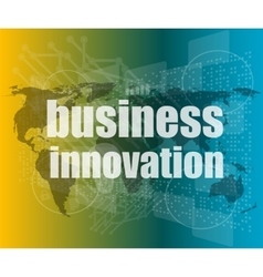 Business innovation button on a touch screen vector