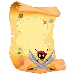 A treasure map with a skull and sharp swords vector