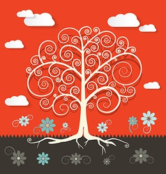 Abstract Retro Flat Design Tree with Clouds and vector image vector image
