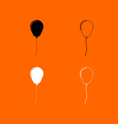Balloon black and white set icon vector