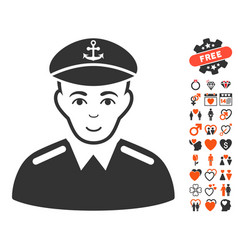 Captain icon with love bonus vector