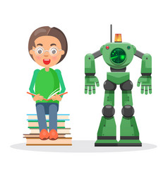 child sits on pile of books and reads beside robot vector image vector image