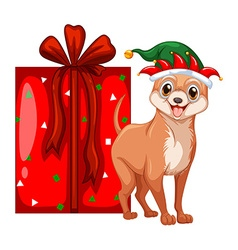 Christmas theme with little dog and present box vector