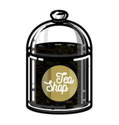 color vintage tea shop emblem vector image