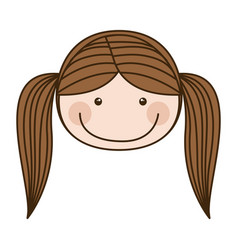 Colorful caricature front face girl with pigtail vector
