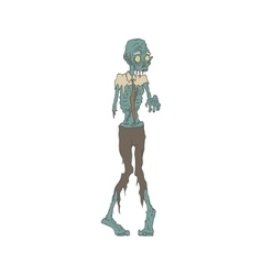 Creepy zombie wearing tie outlined drawing vector
