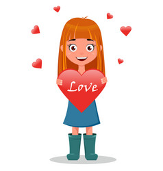 Cute funny smiling cartoon girl holding heart vector