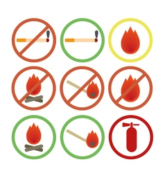 Fire fighters icons no smoking vector