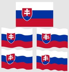 Flat and waving flag of slovakia vector
