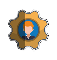 Gear frame male faceless picture vector