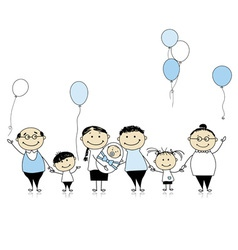 Happy birthday big family children newborn baby vector image