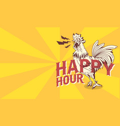 Happy hour vintage influenced poster design with vector