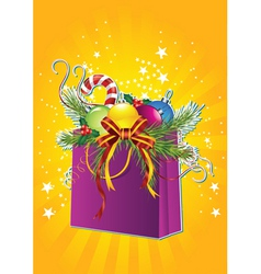 Happy new year card with Christmas gift bag vector image