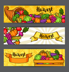 Harvest festival banners autumn with vector
