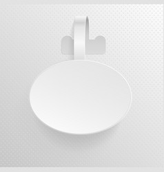 Isolated empty white advertising plastic oval vector
