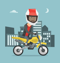 Man riding motorcycle at night vector