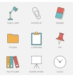 Office tools color line icons vector image vector image
