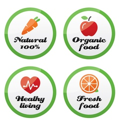 Organic food fresh and natural products icons vector