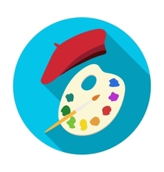 Painting palette and beret icon in flat style vector