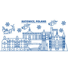 Poland katowice winter city skyline merry vector