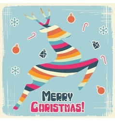 Retro Christmas Reindeer Card vector image
