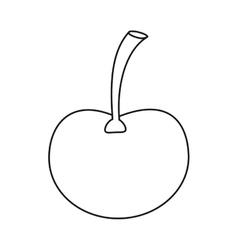 Ripe cherry fruit nature design outline vector