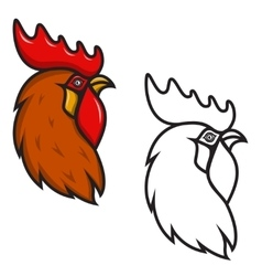 Rooster head isolated on white background design vector
