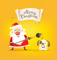 santa claus draw a placard merry christmas and vector image vector image